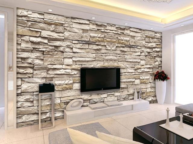 3d stone brick wall pattern european minimalist modern for Decoration murale derriere poele