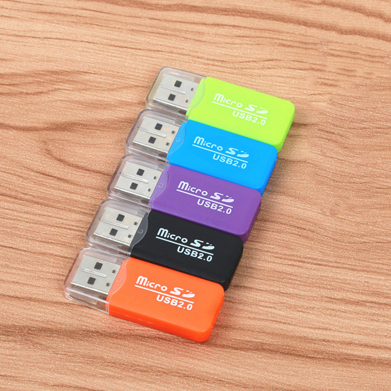 FFFAS High Quality Mini USB 2.0 Card Reader for Micro SD Card TF Card Adapter Plug and Play Colourful Choose from for Tablet PC