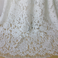 3 Yards Off White Embroidered French Chantilly Eyelash Lace Fabric With Corded DIY Sewing Craft Accessories Dress Material