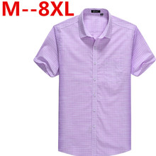 2017 Summer Men Plaid Dress Shirts Plus Size 4XL 5XL 6XL 8XL Cotton Shirt Camisas Pocket Camisetas Vestidos Men Clothes Casual