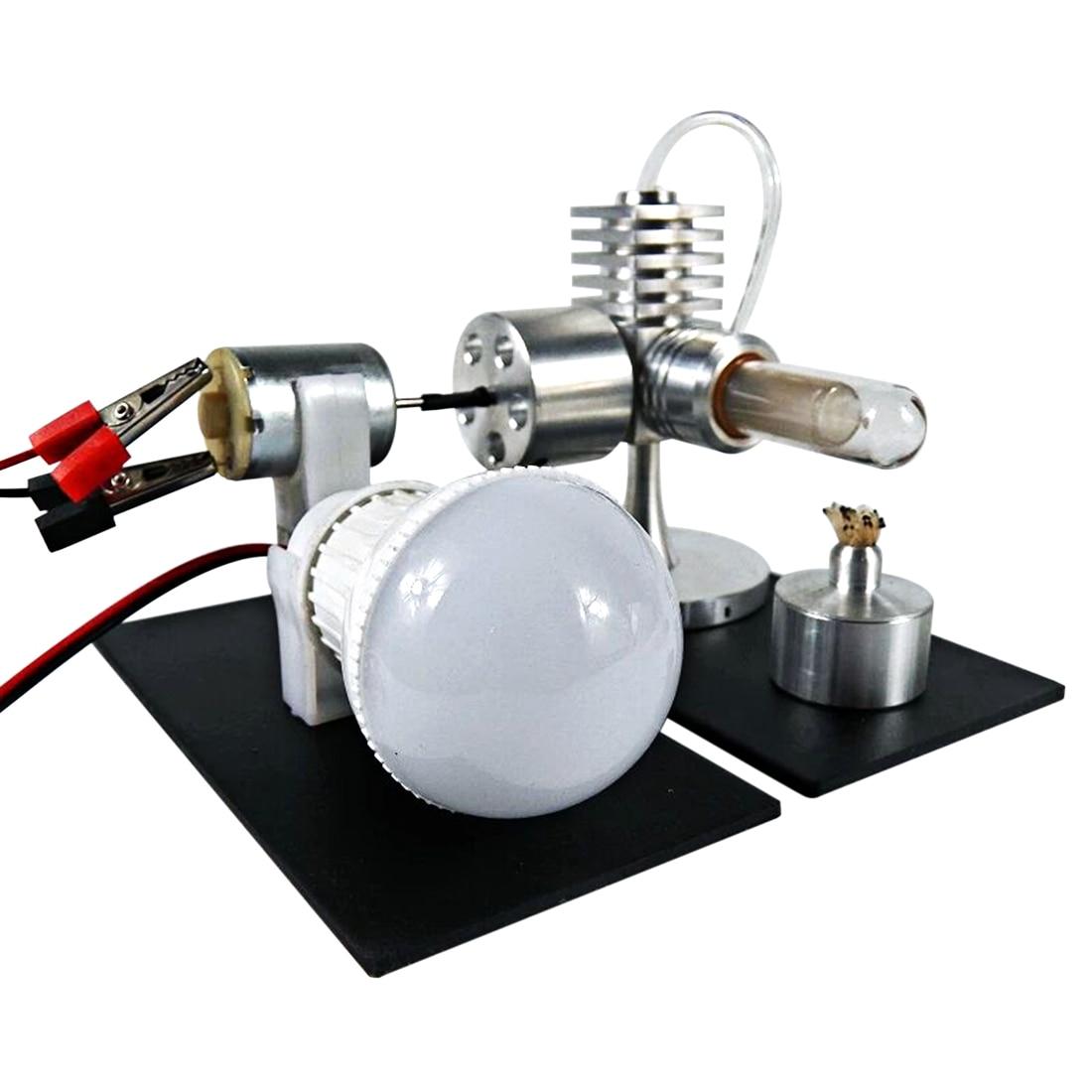 NFSTRIKE tout en aluminium poli monocylindre Stirling modèle de moteur jouet avec générateur et LED modèle de moteur ampoule jouets enfants