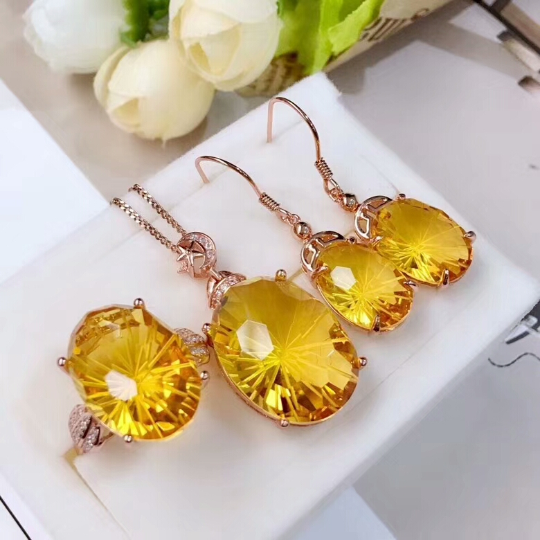 MeiBaPJ Natural High Quality Citrine Gemstone Fine Wedding Jewelry Set 925 Pure Silver Necklace Ring Earrings