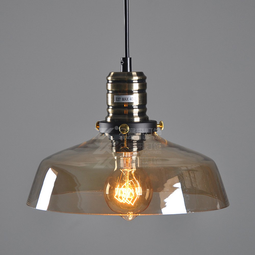 Vintage Country Rustic Amber Glass Dining Room Pendant Lamp Restaurant Northern Europe Bar Counter industrial Pendant Lights