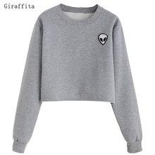 Giraffita Alien Printed Long-sleeved Women Sweatshirt New Autumn Velvet Hoodie Plus Size Loose Casual Short Sweatshirts Crop Top