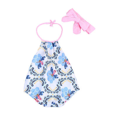 Rompers Genteel 2pcs/set Newborn Infant Baby Girl Floral Bees Rompers Plus Headband Jumpsuit Summer Clothes Sunsuit At All Costs Bodysuits & One-pieces