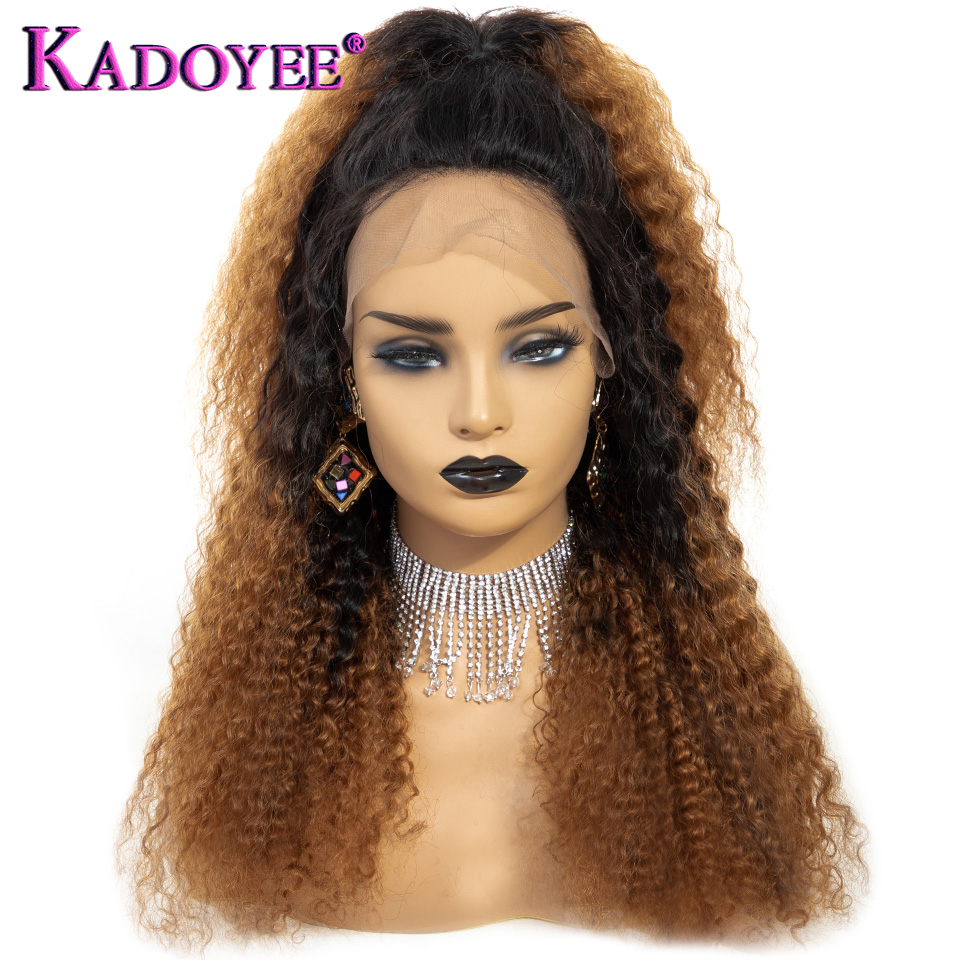 New Brazilian Kinky Curly With Pre Plucked Hairline Lace Front Human Hair Wigs Ombre 1B 30 Afro Curly 13*4 Lace Frontal Hair Wig