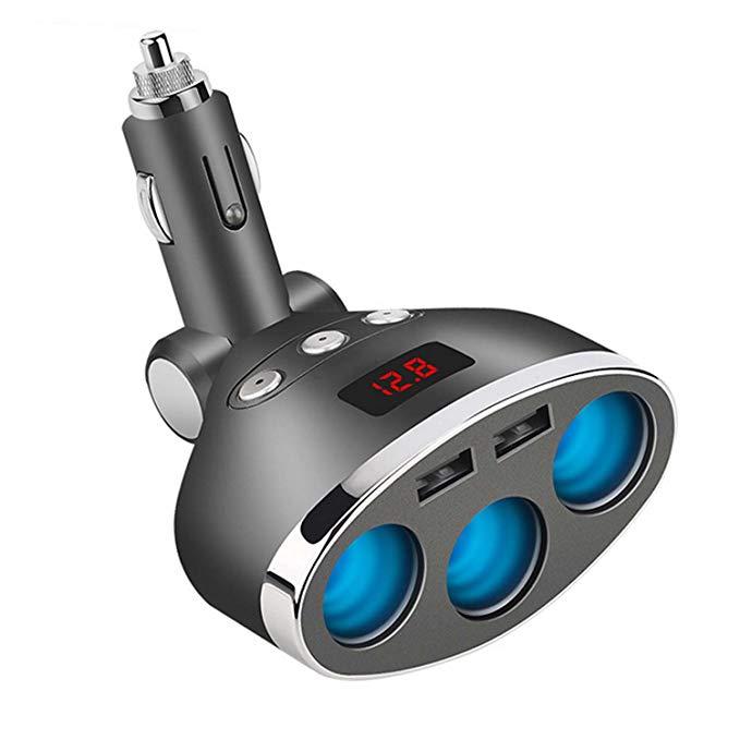 Chargeur de voiture 3-Prise Cigarette Allume Adaptateur DC Splitter Double USB Chargeur De Voiture avec LED Tension D'affichage pour téléphone intelligent