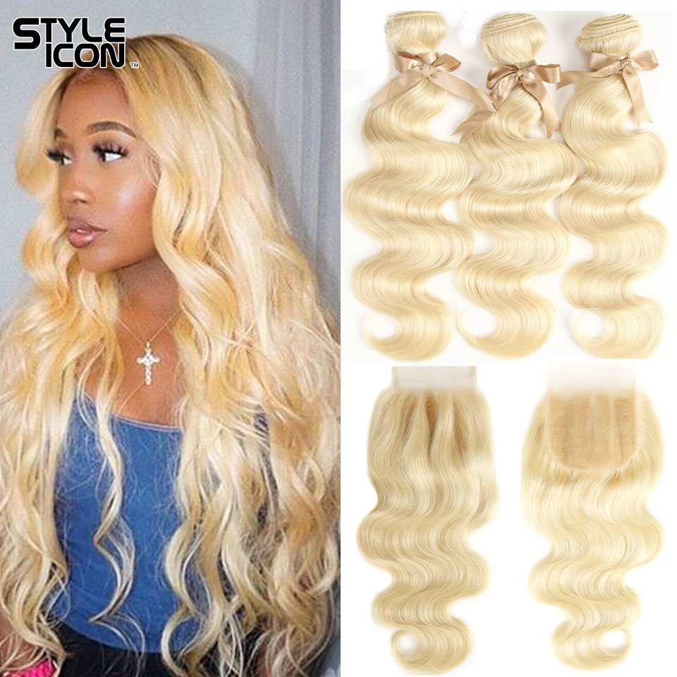 Styleicon Body Wave Blonde 613 Hair With Closure Brazilian Blonde Remy Hair With Closure Honey Blonde Hair Weave With Closure