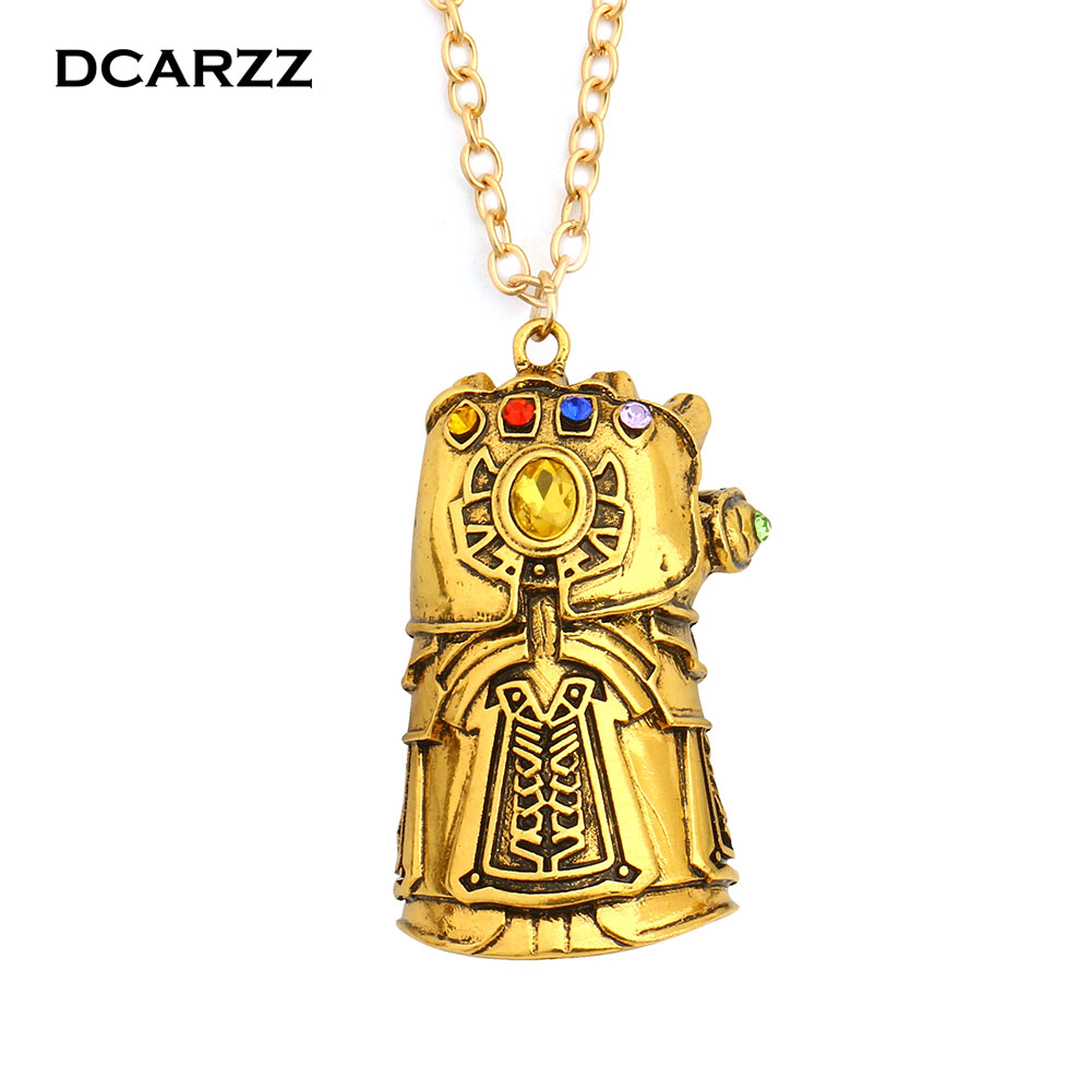 Infinity War Gauntlet Pendant Avengers Inspired Thanos Cosplay Jewelry 6 Colors Infinity Stones Crystals Necklace Drop Shipping цена