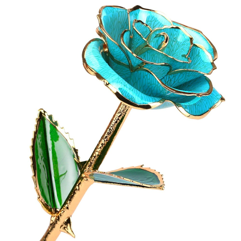 24k Gold Rose Flower with Long Stem Rose Dipped in Gold Gift for Women Girls on Birthday,Valentine's Day,Mother's Day,Christmas