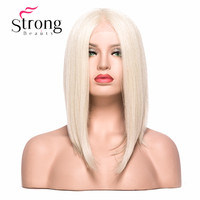 StrongBeauty Lace Front Wig Short Yaki Straight Bob Haircut Heat Resistant/ Part Natural Blonde Synthetic Wig Women's