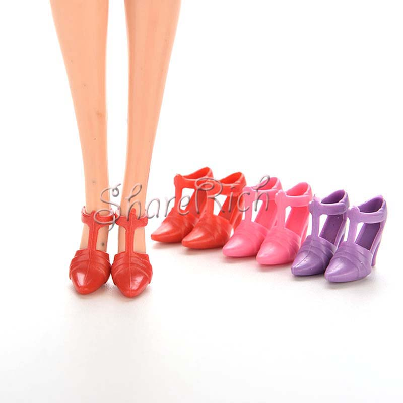 10 Pairs Mix Pairs High Heels Shoes For Barbies Doll Designs Vary Color Random
