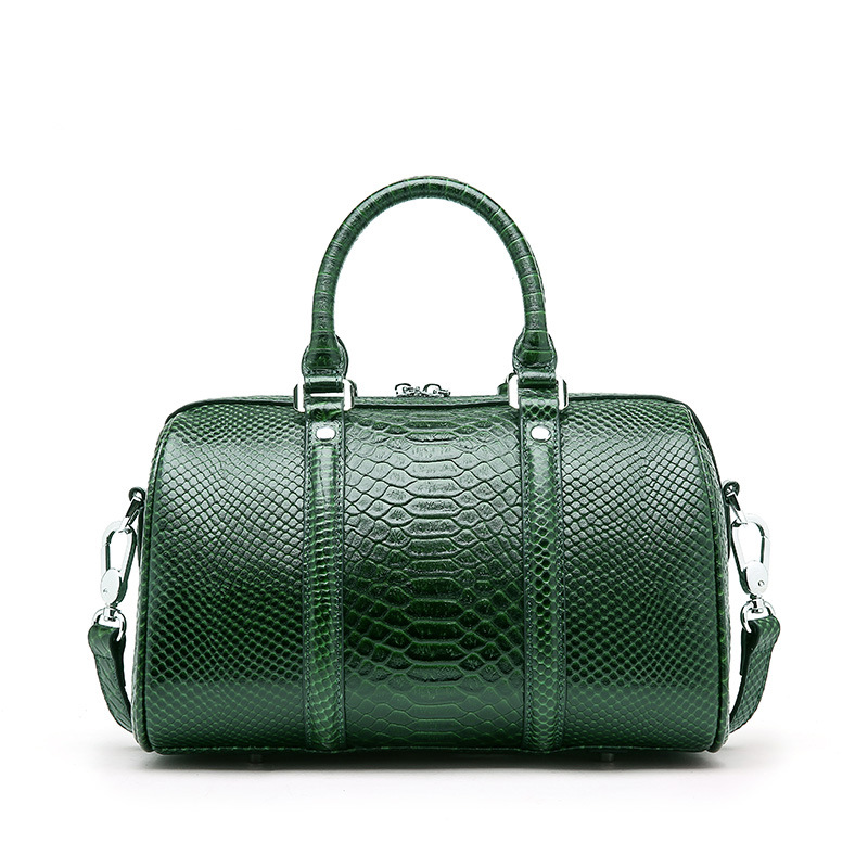 Genuine Leather Women Handbag Luxury Snake Real Cow Leather Boston Bag High Quality Shoulder Bag Lady Green Serpentine Tote Bag hahmes 100% genuine leather women s bag serpentine design casual tote handbag quality cow leather shoulder bag 31cm 10913