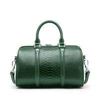 Genuine Leather Women Handbag Luxury Snake Real Cow Leather Boston Bag High Quality Shoulder Bag Lady Green Serpentine Tote Bag
