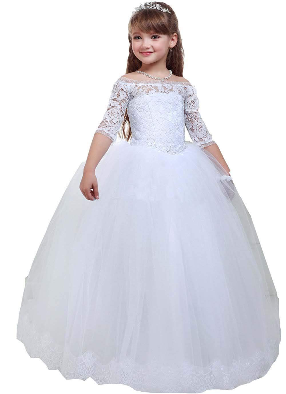 Pure White Lace Off Shoulder   Flower     Girl     Dresses   Ball Gown Puffy Tulle Half Sleeve First Communion   Dresses   Kids Birthday Gown