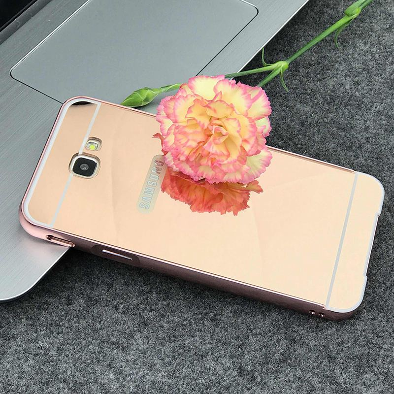 Luxury Mirror Cases For Samsung Galaxy J7 Prime Metal Aluminum Frame + Acrylic Back Cover For Samsung Galaxy J7 Prime On7 2016