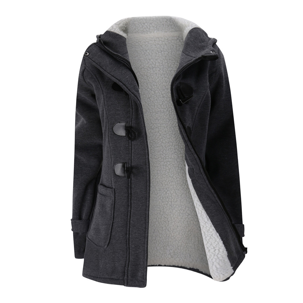 Jacket Coat Winter Women 2019 Hooded Wool Blend Praka Classic Horn Leather Buckle Coat Slim For Ladies Winter Jacket Woman Parka 12