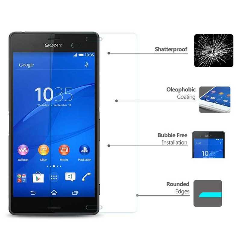 9H Kính Cường Lực HD Dành Cho Sony Xperia Z Z1 Z2 Z3 Z3 + Z4 Nhỏ Gọn Z5 Plus M2 M4 aqua Màn Hình Bảo Vệ Màng Bảo Vệ Da Ốp Lưng