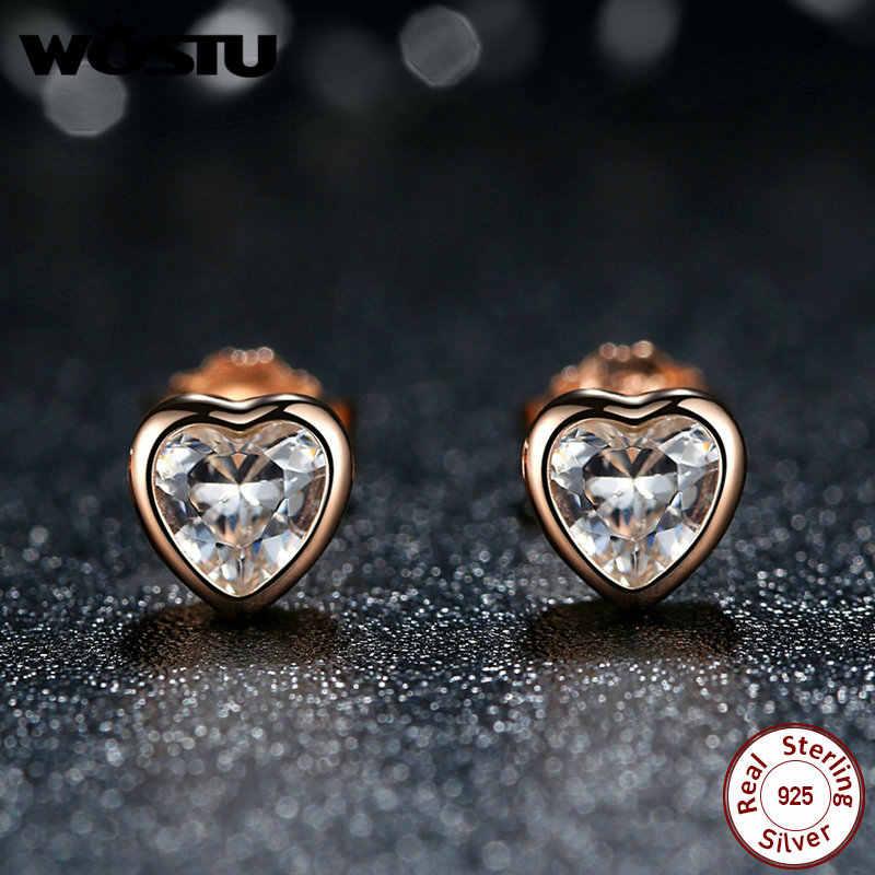 "100/% REAL 925 sterling silver /""Rose/"" Teen Girl women studs earrings 6 colours"