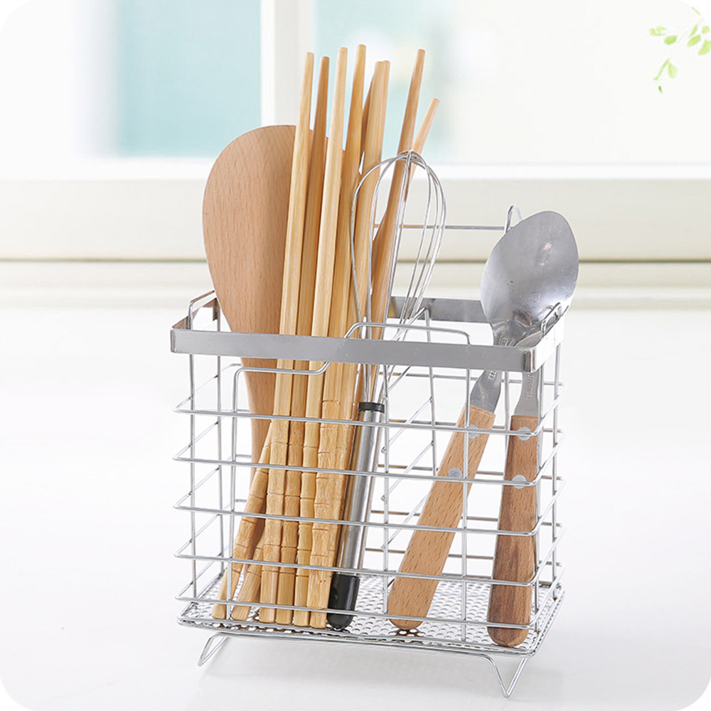 c2c669257 New Stainless Steel Drain Rack Spoon Fork Organizer Bucket Chopsticks Cage  Tableware Kitchenware Storage Box Set