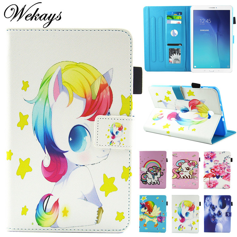 Wekays For Samsung Tab A 10.1 Cartoon Unicorn Leather Case For Samsung Galaxy Tab A 2016 10.1 T585 T580 T580N Tablet Cover Case