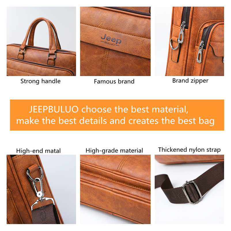 Image 3 - JEEP BULUO Famous Brand Men Briefcase Bag High Quality Business  office Work Leather Shoulder Bags Travel Handbag 14 inch  LaptopBriefcases