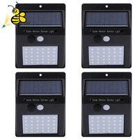 4pcs LED Solar Powered Light PIR Motion Sensor Rechargeable 30 LED Solar Wall Lamp Outdoor Waterproof Garden Yard Lamps