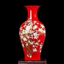 Jingdezhen ceramic Chinese red porcelain vase landing Large living room decoration furnishing articles