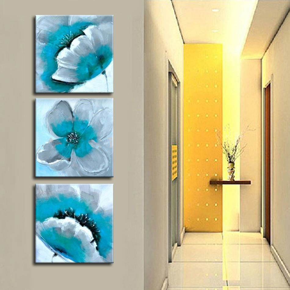 Aliexpress.com : Buy Hand Painted Modern Blooming Turquoise Flower 3 ...