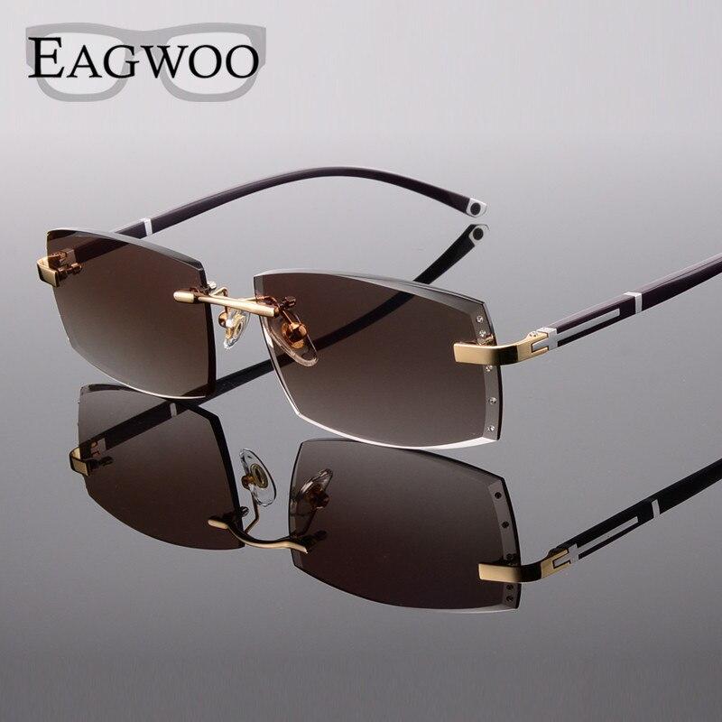 Alliage lunettes homme sans monture Prescription lecture myopie lunettes de soleil lunettes avec couleur teinté lentilles de Prescription 528065