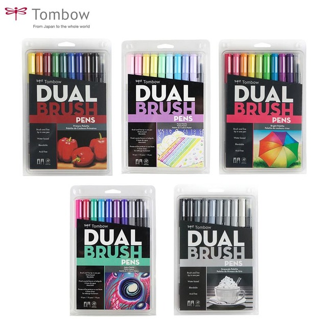 Tombow ABT Dual Brush Pen Art Markers Calligraphy Drawing Pen Set Bright 10 Pack Blendable Brush Fine Tip Watercolor lettering