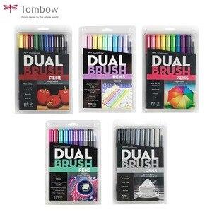 Image 1 - Tombow abt escova dupla caneta arte marcadores caligrafia desenho caneta conjunto brilhante 10 pacote blendable escova ponta fina aguarela rotulação