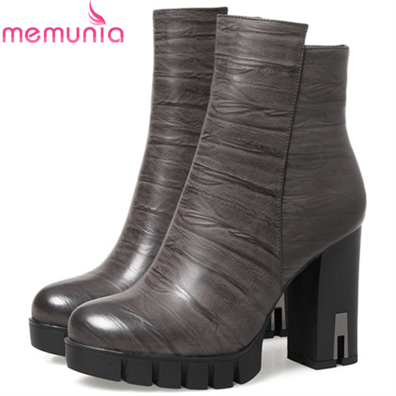 MEMUNIA Large size 34-41 ankle boots for women fashion platform shoes woman high heels boots spring autumn womens boots zip memunia 2017 autumn new arrive long boots for women solid zip knee high boots large size 34 43 fashion high heels boots