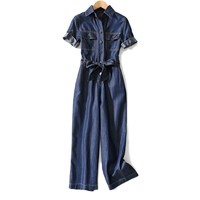 2019 High Waist With Sashes Denim Jumpsuit Single Breasted Women Wide Leg Romper 2019 Summer Autumn Jump Suits