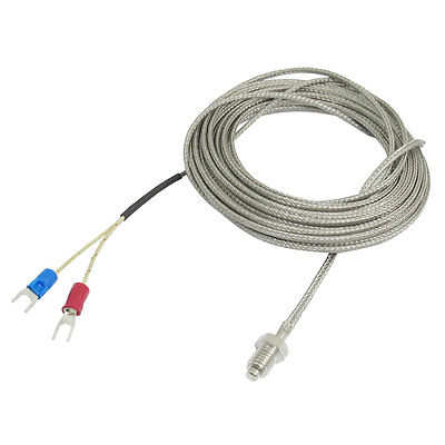 E Type 6mm Thread Probe Thermocouple Temperature Sensor 1M/1.5M/2M/2.5M/3M/4M/5M 0-600C temperature control thermocouple probe 2m cable
