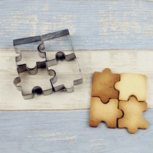 4pcs/lot  New Puzzle Shape Cookie Cutter Cake Decorating Fondant Cutters Tool Cookies Stainless Steel Biscoito