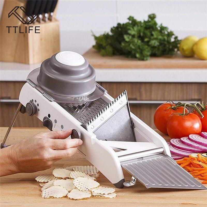 TTLIFE 304 Lames En Acier Inoxydable Légumes Cutter Réglable Mandoline Trancheuse Professionnel Râpe Cuisine Accessoires