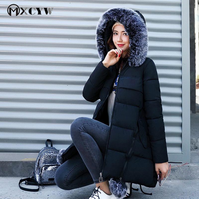 Womens Down Jackets Plus Size Thicker Warm Long Winter Jacket Women Loose Long Sleeves Fur Collar Hooded Coat Black Parka Female