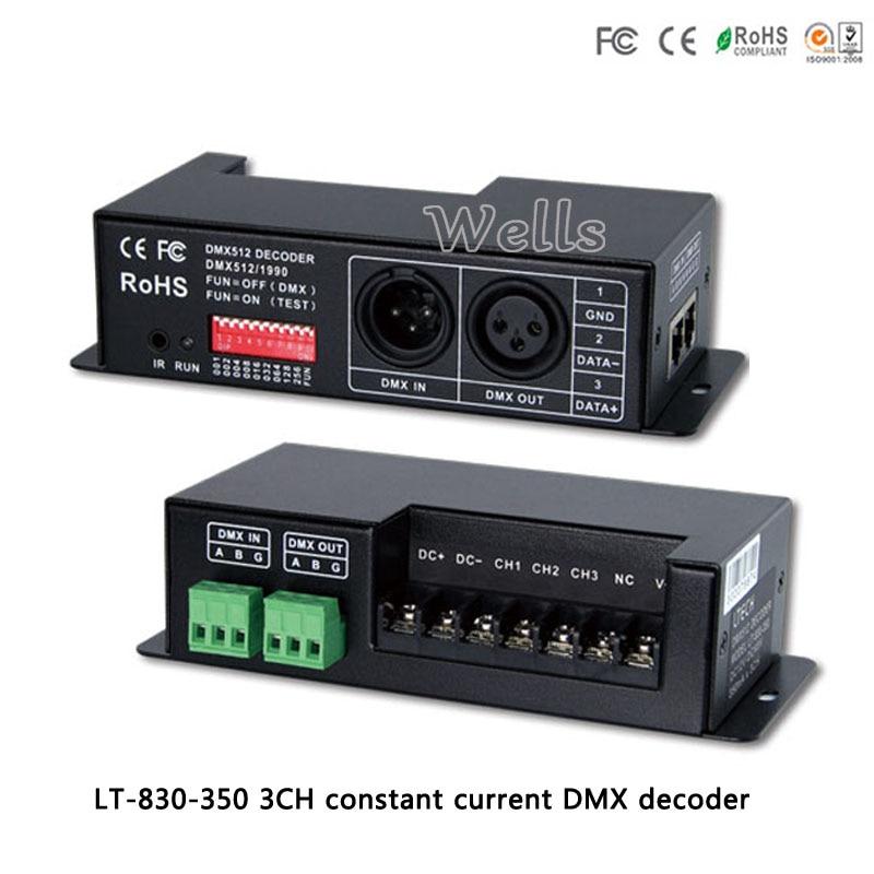 3CH constant current DMX/PWM decoder;LT-830-350;DC12V-DC48V input;350mA CC*3CH output led controller for rgb strip/light/lamps 4channel 4ch pwm constant current dmx512 rdm led decoder with digital display xlr3 rj45 port dc12v 48v input setting dmx address