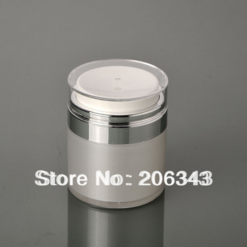 50g pearl white acrylic  jar  airless jar  cream jar with silver collar , transparent lid ,airless emulsion jar ,airless emusion