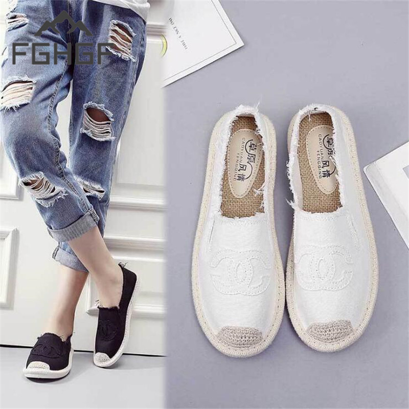 FGHGF Plus Size 35-40 Women Espadrilles Sneakers Comfortable Casual Loafers Shoes Woman Slip On Flats Hemp Candy Women Fisherman(China)