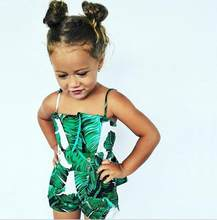 Baby Clothing 2018 Baby Girls Sling Green Leaf Print Jumpsuits Summer Newborn Cotton Baby Rompers(China)