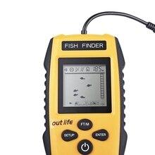 Outlife 100M 200KHz Fish Finder Alarm Transducer Sonar Sensor Echo Sounder Wired Fishfinder Fishing Tackle