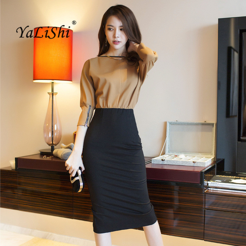 YaLiShi 2019 Autumn High-end Women Dress Office Party Sexy Vintage Patchwork Bodycon Dress Vestidos Slim O-Neck 3/4 Sleeve Dress