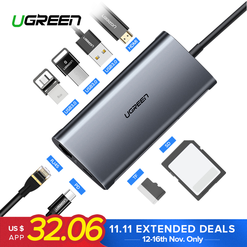 Ugreen USB HUB USB C to HDMI RJ45 Thunderbolt 3 Adapter for MacBook Samsung Galaxy S9 Huawei Mate 20 P20 Pro Type C USB 3.0 HUB rebecca minkoff сандалии