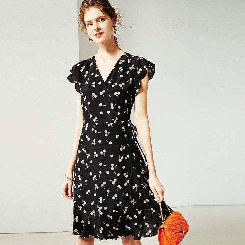 Vestido de verano 2019 para mujer nueva moda seda estampado cuello pico sin mangas ajustado A Line vestido Casual rodilla longitud S XL - 2