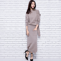 adohon 2018 womens winter Women's Sets Cashmere sweaters and auntmun women dresses knitted High Quality Warm Female thickening