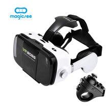 VR VR JEFE 3D Gafas de Realidad Virtual Box + Magicsee R1 bluetooth 4.0 wireless game pad para iphone android inteligente remoto teléfono