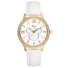 Disney reloj de las mujeres señoras relojes de cuarzo de cuero blanco Mickey mouse chica estudiante impermeable de lujo Del Diamante rojo rosa azul