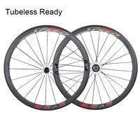 Jerry's Tubeless Ready 38mm Carbon Wheel Road Bike Wheelset Aero Wind Brake Spokes (Fast Series) 700C 23mm/25mm
